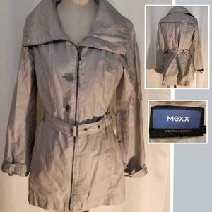 Mexx Grey Linen Belted Lined Trench Jacket 10